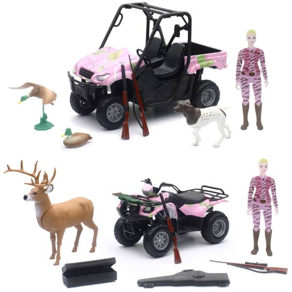Wildlife Hunting 1:12 Hunting Set with Pink Camo Vehicle and Female Figure Assortment