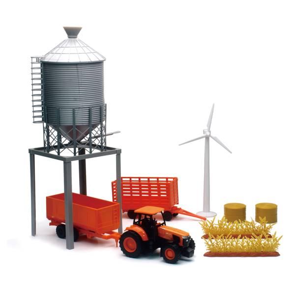 Kubota Farm Tractor and Grain Bin Tower Set