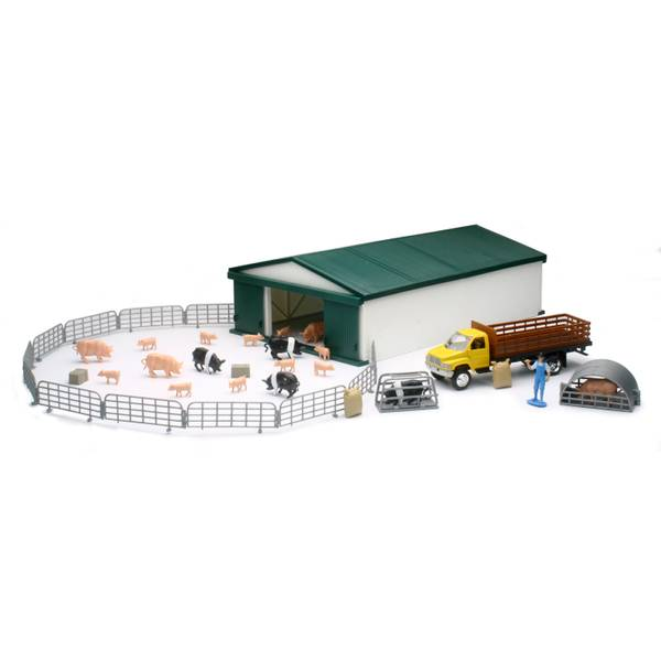Country Life Hog & Chicken Farm Set with Machine Shed Assortment