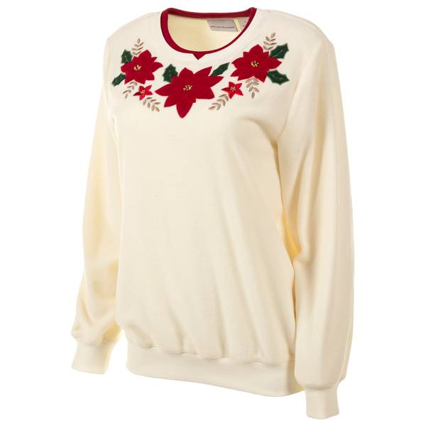 Misses Ivory Poinsettia Sweater