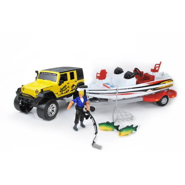 Jeep with Bass Boat Fishing Set