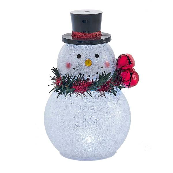 Small Lighted LED Double Ball Snowman