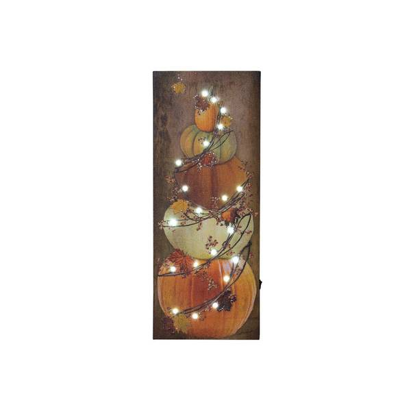 Lighted Bittersweet Pumpkin Stack Canvas