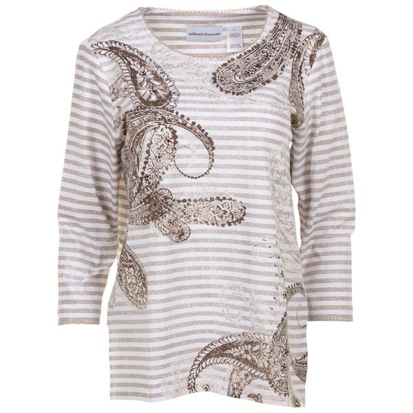 Women's Tan Stripe Paisley Knit Top