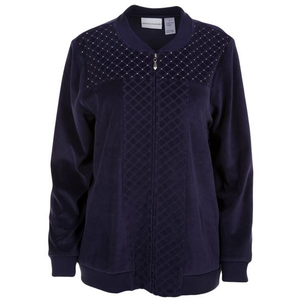 Women's Spliced Diamond Quilt Velour Jacket