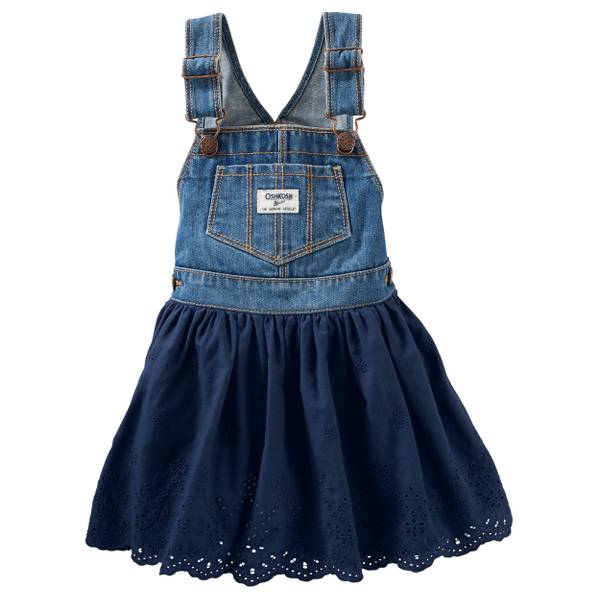 Toddler Girls' Navy Eyelet Jumper