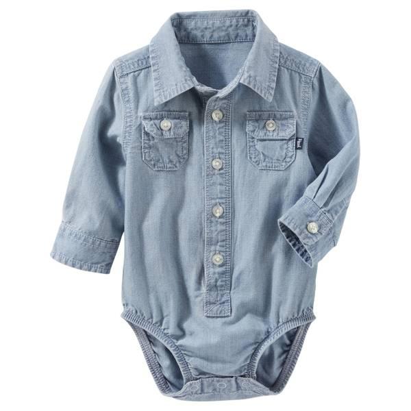 Infant Boy's Chambray 2-Pocket Button-Front Bodysuit