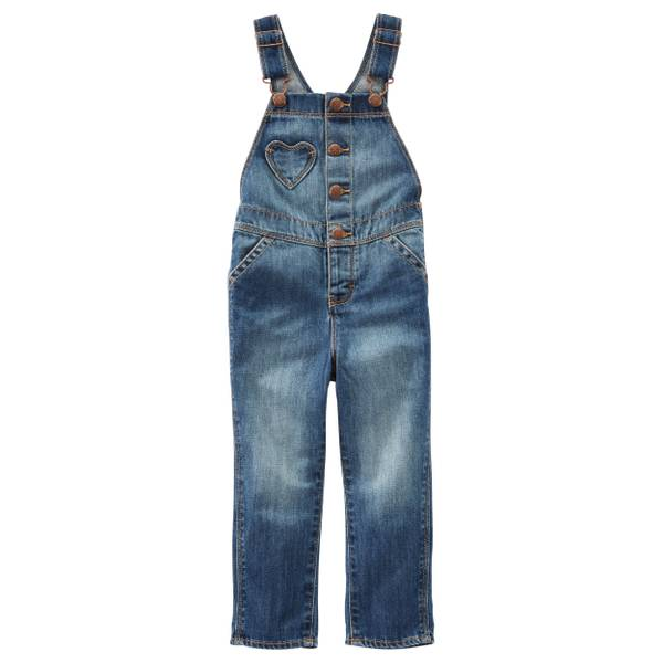 Toddler Girls' Denim Heart Pocket Denim Overalls