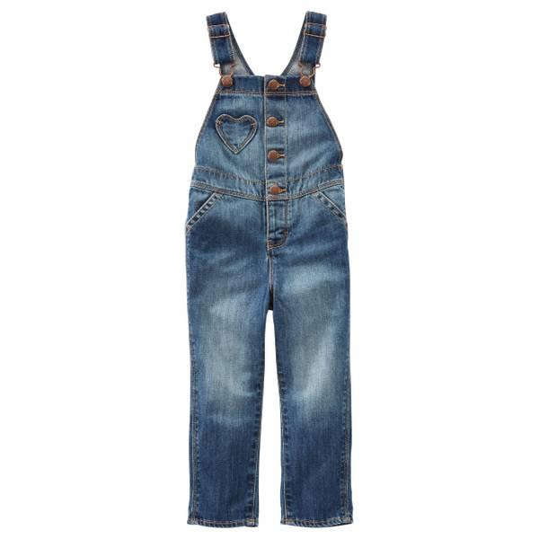 Baby Girls' Denim Heart Pocket Denim Overalls