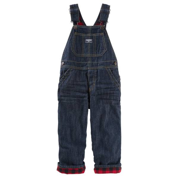 Toddler Boy's Blue Denim Flannel-Lined Overalls