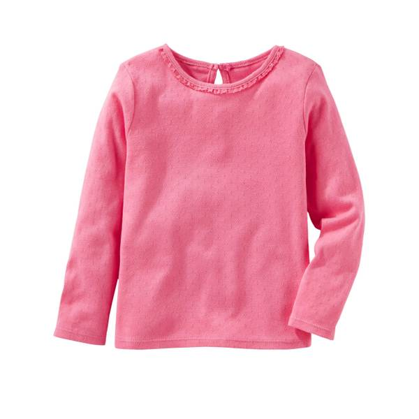 Toddler Girl's Pink Long Sleeve Pointelle Top