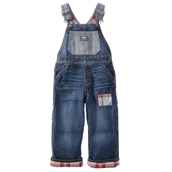 Baby Boy's Blue Denim Flannel-Lined Overalls
