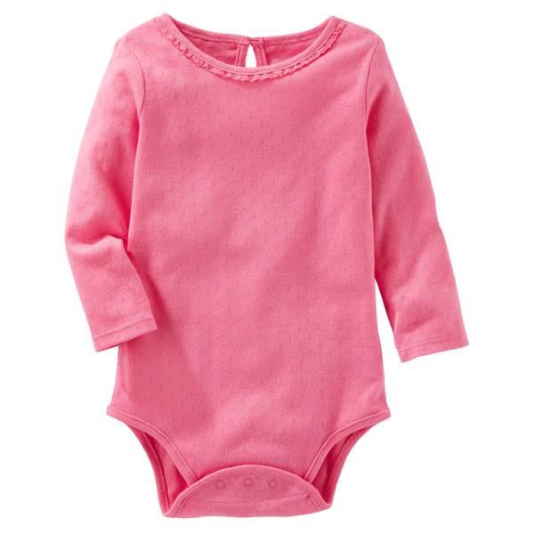 Infant Girl's Pink Pointelle Bodysuit
