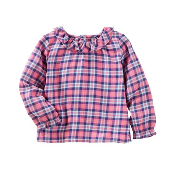 Toddler Girl's Pink Plaid Twill Top