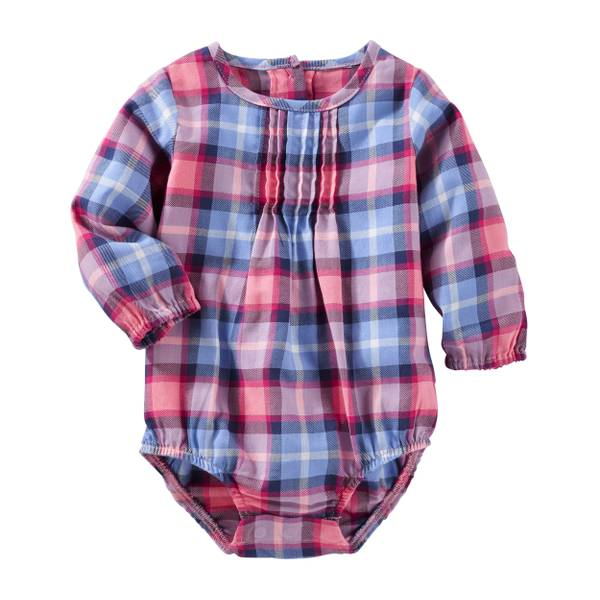 Baby Girl's Red Woven Plaid Bodysuit