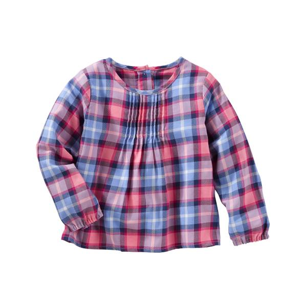 Toddler Girl's Red & Blue Woven Plaid Top