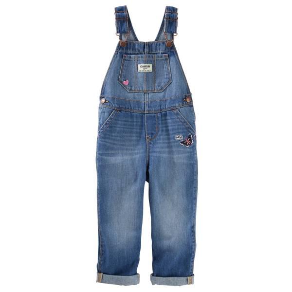 Toddler Girl's Blue Embroidered Denim Overalls