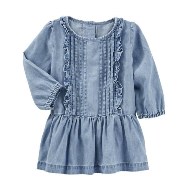 Toddler Girl's Chambray 2-Piece Drop Waist Dress