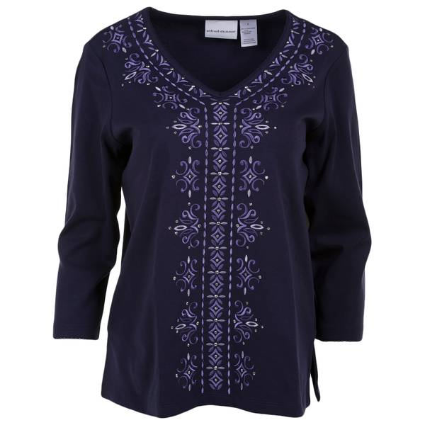 Misses Center Embroidered Knit Top