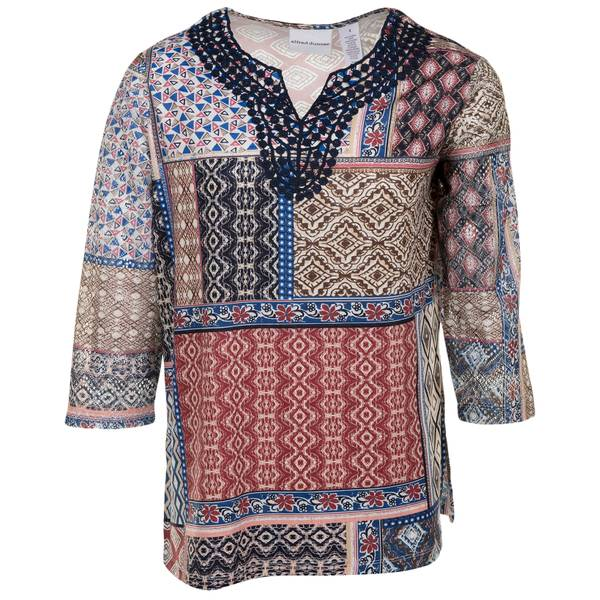 Misses Patchwork Knit Top