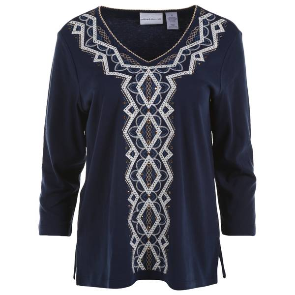 Misses Navy Diamond Embroidered Knit Top