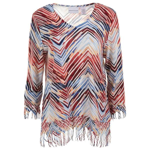 Misses Multi-Colored Zig Zag Fringe Top
