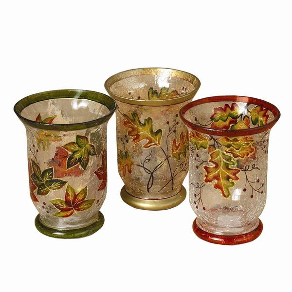 Painted Crackle Glass Harvest Leaves Hurricane Candle Holder Assortment