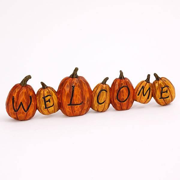 "Resin Harvest Pumpkin ""Welcome"" Sign"