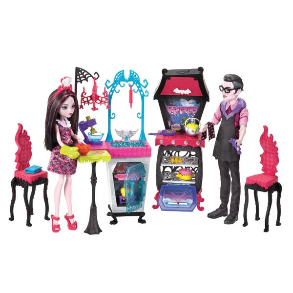Monster Family Vampire Kitchen Playset with 2 Dolls
