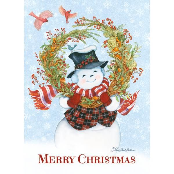 Snowman's Wreath Christmas Cards