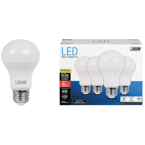 9.5w/60w Non-Dimmable A19 LED, E26, 5000K 4-Pack