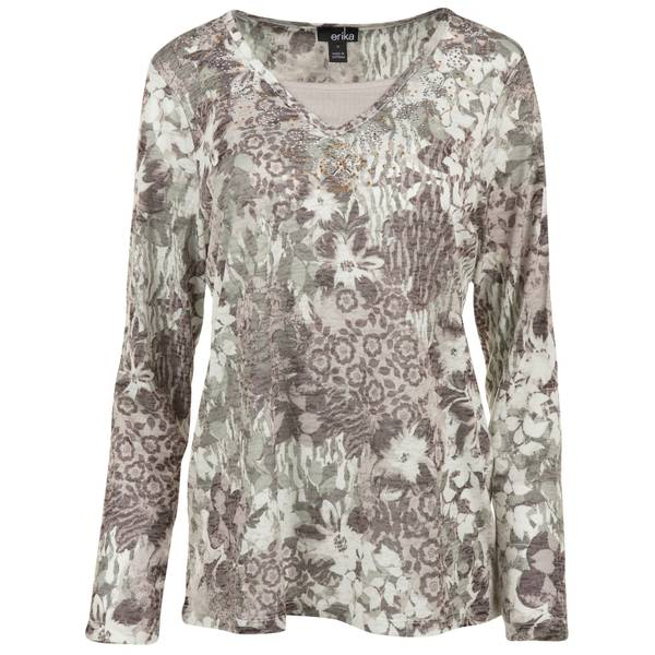 Women's Floral Print Knit Burnout Top