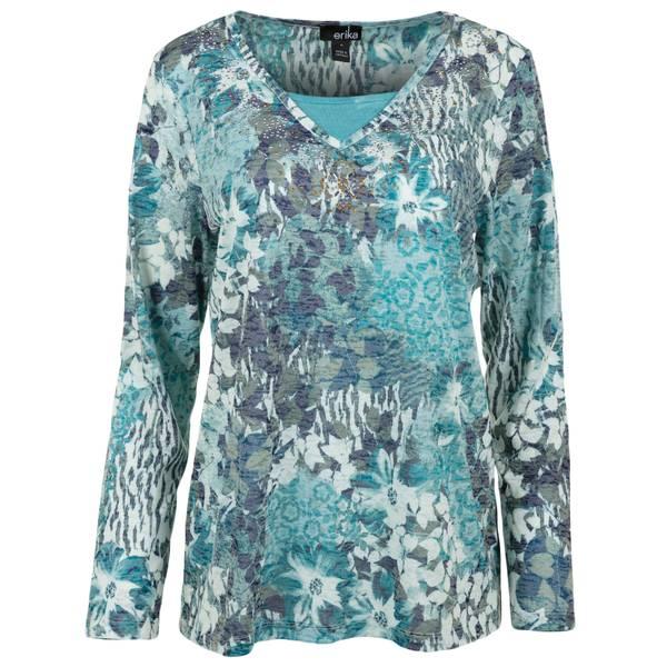 Women's Floral Print Knit Burnout Top