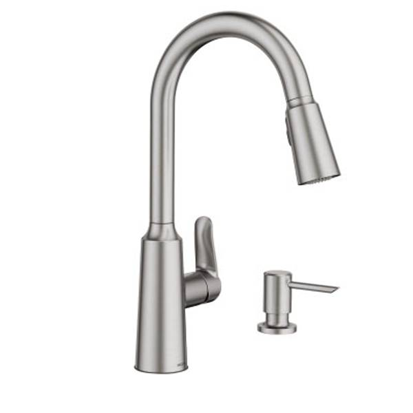 one pulldown kitchen watch edwyn moen resist arc faucet high stainless spot hqdefault handle