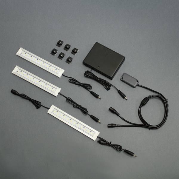 stack on battery powered 3 led light bars kit. Black Bedroom Furniture Sets. Home Design Ideas