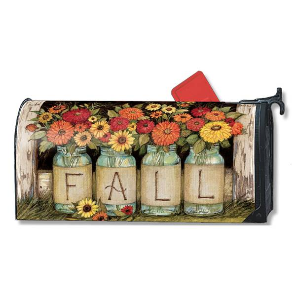 Fall Mason Jars Magnetic Mailbox Cover