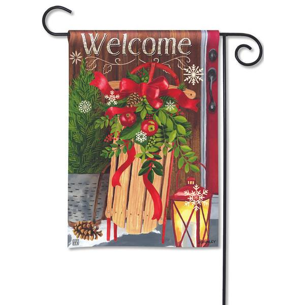 Mountain Cabin Sled Garden Flag