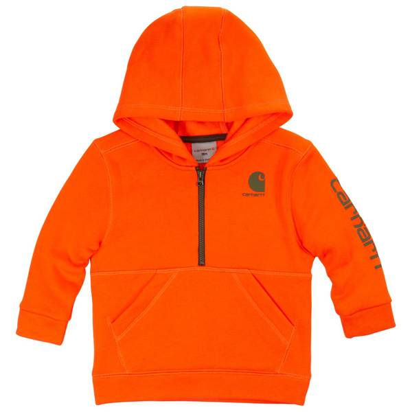 Toddler Boys' Blaze Orange 1/2 Zip Logo Hoodie