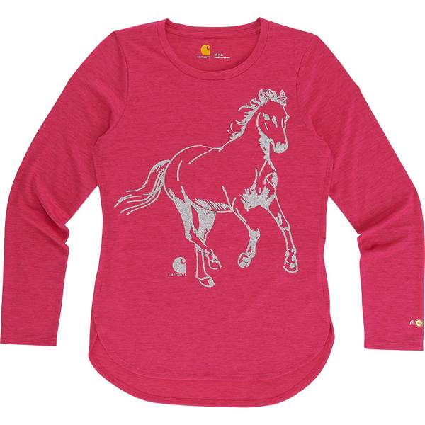 Force Little Girls' Pink Long Sleeve Run Free Tee