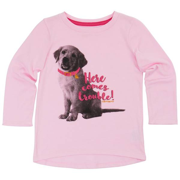 Toddler Girls' Lilac Long Sleeve Here Comes Trouble Tee