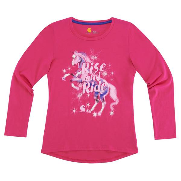 Big Girls' Pink Long Sleeve Rise and Ride Tee