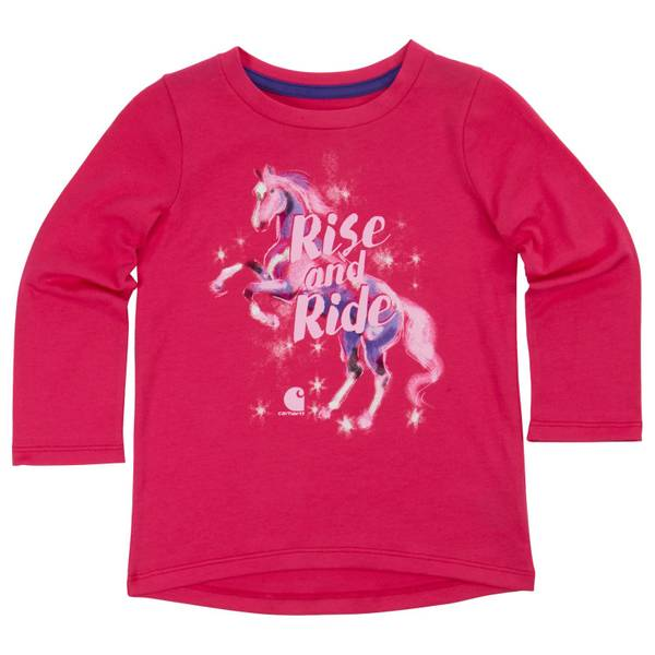 Toddler Girls' Pink Long Sleeve Rise and Ride Tee