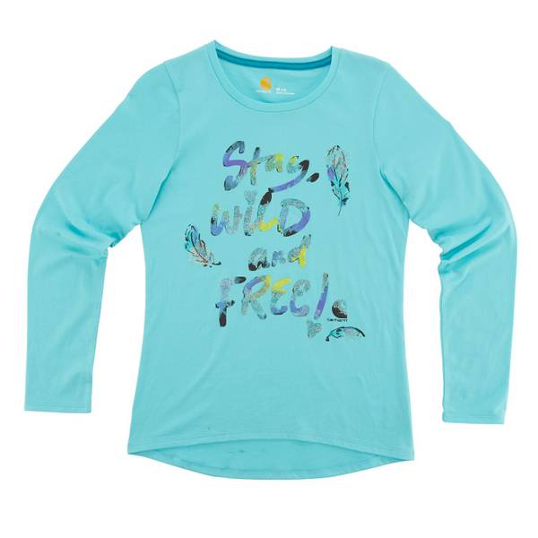 Little Girls' Blue Long Sleeve Stay Wild Tee