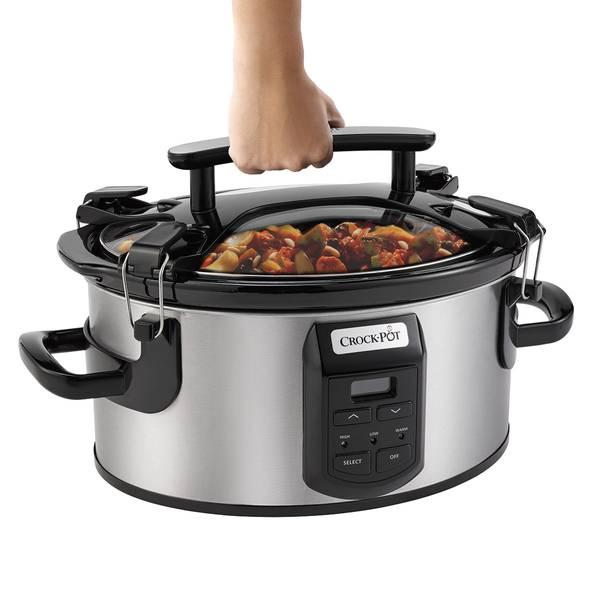 Crock Pot 6 Quart Single Hand Cook Carry Oval Slow Cooker