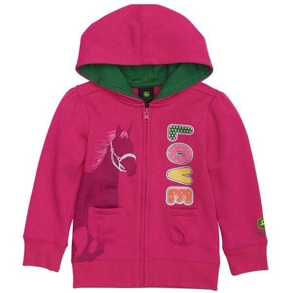 Toddler Girls' Full Zip Horse Hoodie