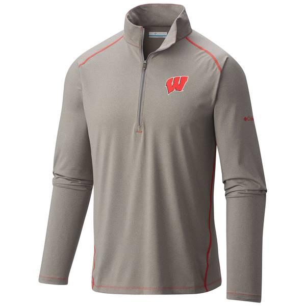 Men's Wisconsin Badgers Tuk Mountain 1/2 Zip Long Sleeve T-Shirt