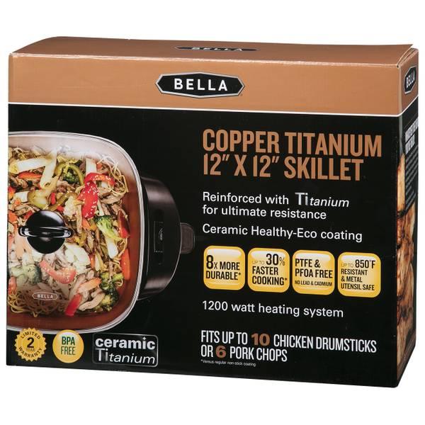 12 x 12 Inch Electric Skillet with Copper Titanium Coating BELLA 14607 1200 W