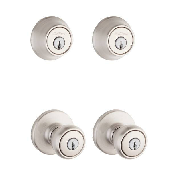 242 Tylo Keyed Entry Knob and Single Cylinder Deadbolt Project Pack in Satin Nickel