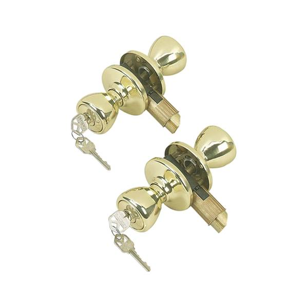 243 Tylo Keyed Entry Knob Project Pack in Polished Brass