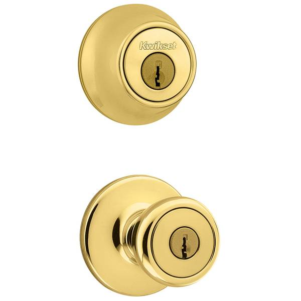 690 Tylo Keyed Entry Knob and Single Cylinder Deadbolt Combo Pack in Polished Brass